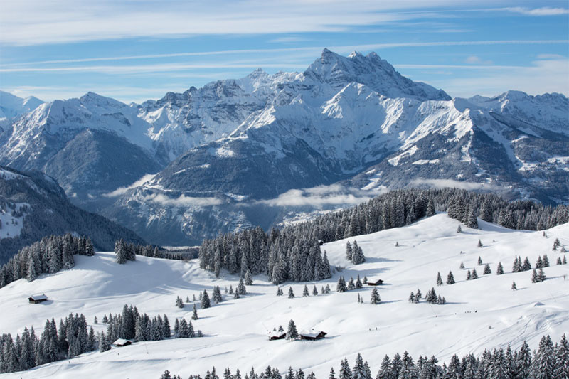 Winter view of the Villars region