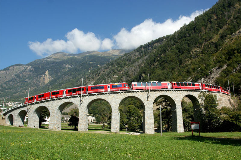 Bernina Express at Brusio Viaduct near Tirano