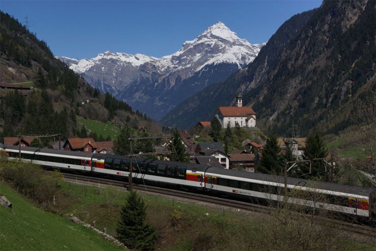 Gotthard Panorama Express passing Wassen Church