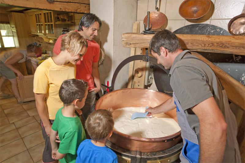 Cheese making demonstration near Adelboden