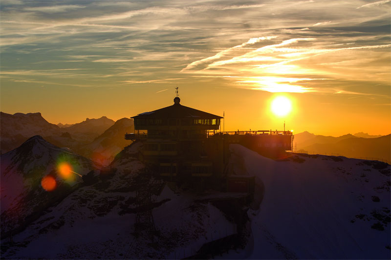 Beautiful sunset over the Schilthorn