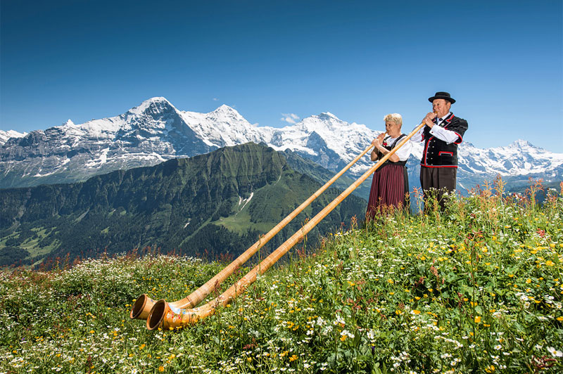 Traditional alphorn at Schynige Platte