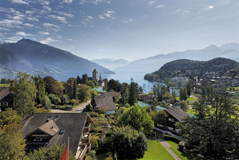 View over Spiez and Lake Thun