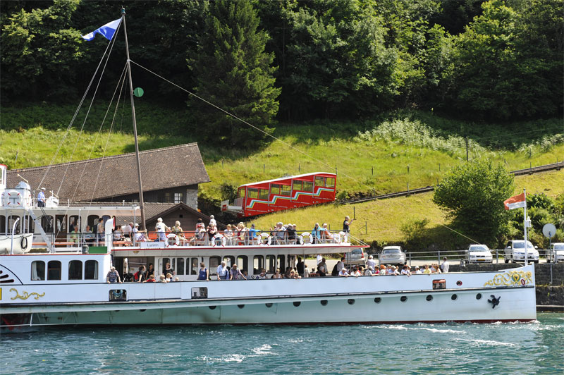 Treib boat station with the Seelisberg funicular