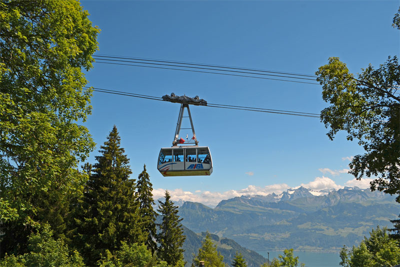 Cable car from Weggis to Mount Rigi