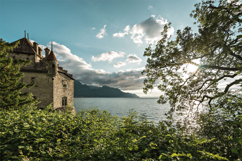View of Chillon Castle on the lake