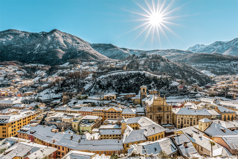 Winter view over Bellinzona