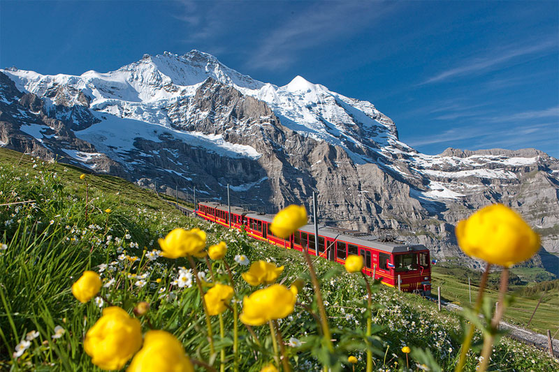 Jungfraubahn to the Jungfraujoch in summer