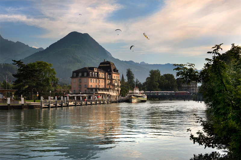 The hotel has a great position on the river in Interlaken