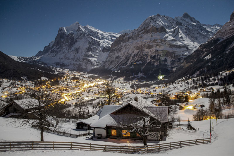 Winter view of Grindelwald