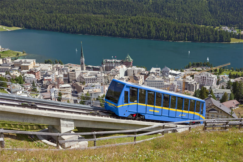 St. Moritz funicular to Chantarella, en route to Corviglia