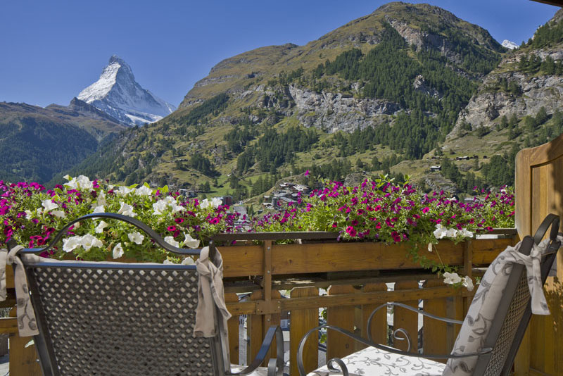 Chalet Hotel Schönegg, view towards the Matterhorn