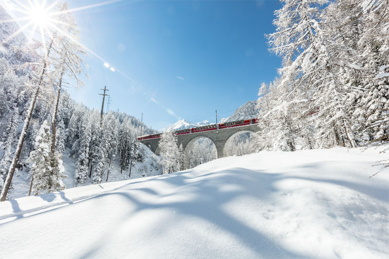 Albula viaduct in winter Bernina Express