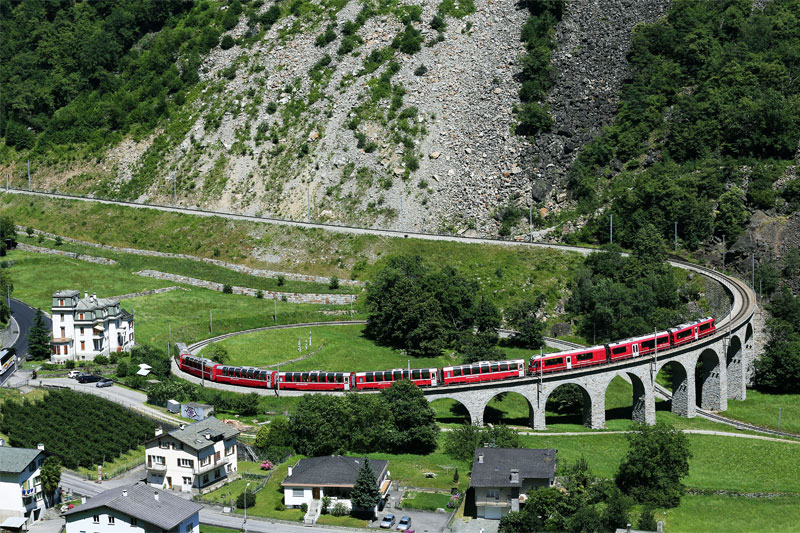 Bernina Express on the Brusio Viaduct