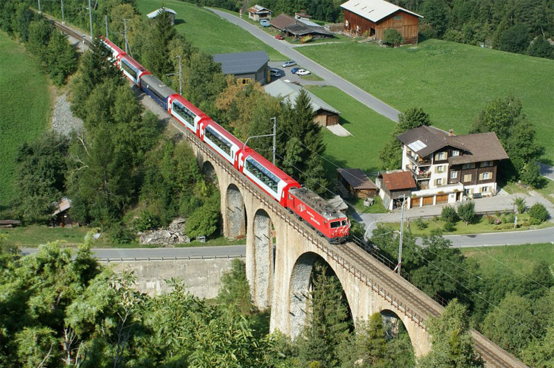 Aerial view of the Glacier Express