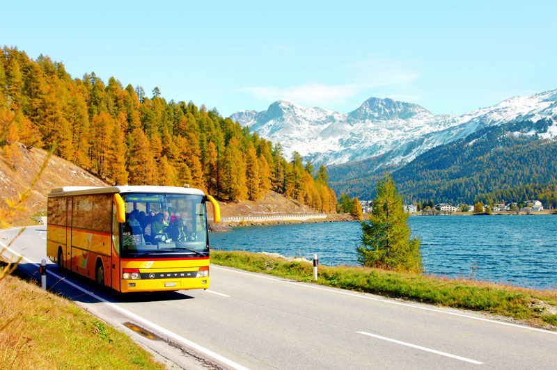 PostBus beside Lake Sils, near St. Moritz