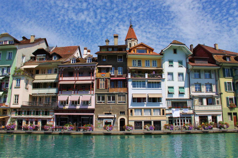 Riverside buildings in Thun