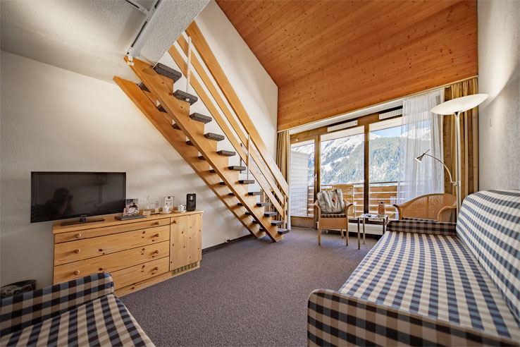 Example of a family duplex room at the Sunstar Hotel Wengen