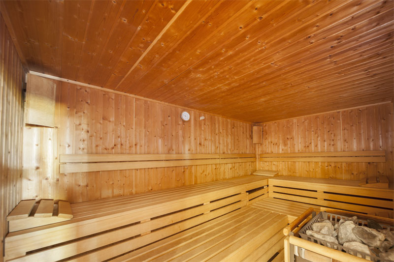 The wellness area includes a sauna