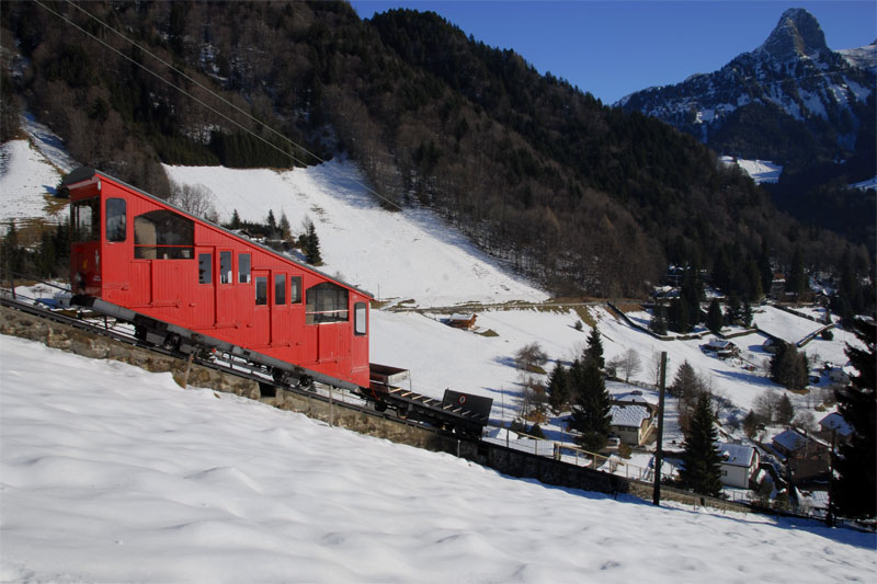 Les Avants funicular in winter