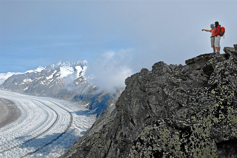 Walking beside the Aletsch Glacier