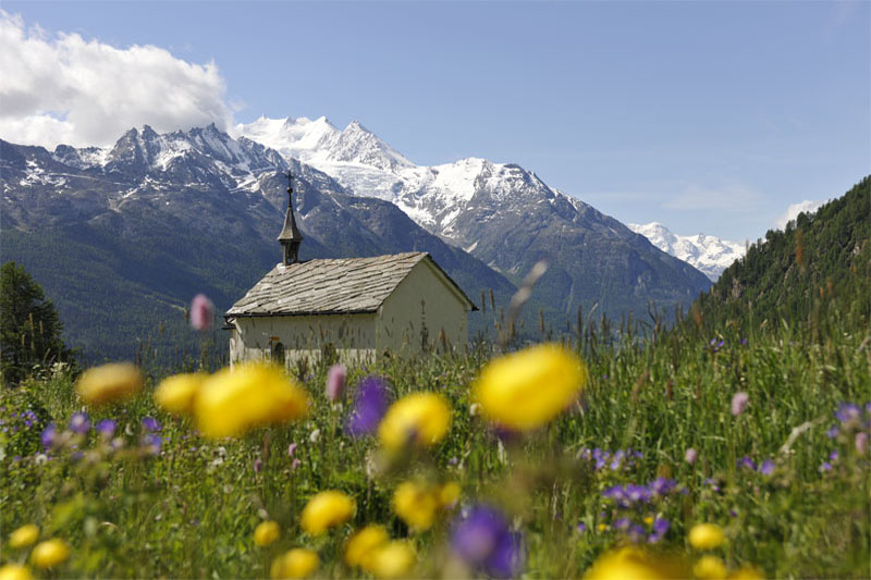 View of the Dom mountain near Saas-Fee