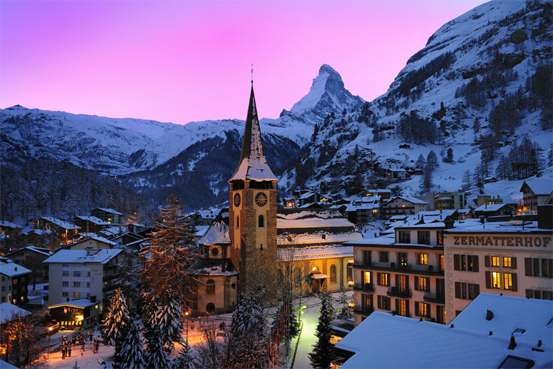 Winter view of Zermatt