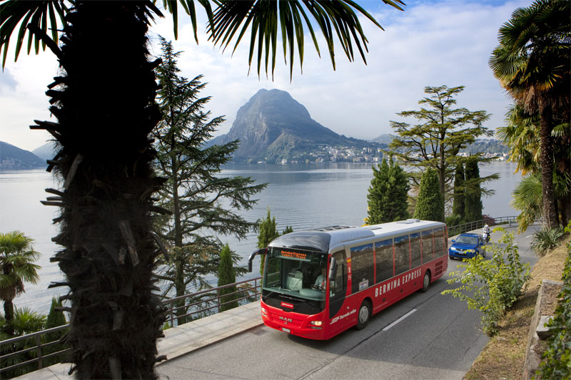 Bernina Express bus at Lugano