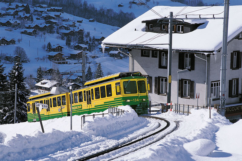 Wengen train in winter