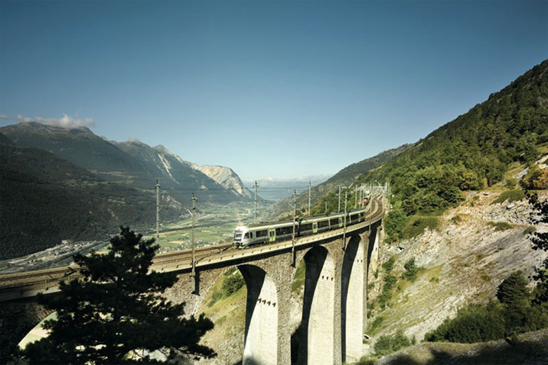 Scenic viaduct in the Rhone Valley