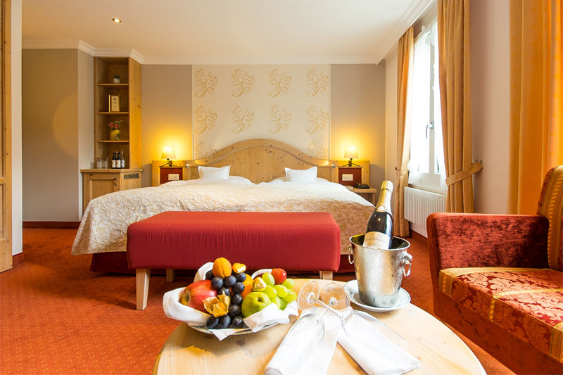 Example of a twin room at the Schweizerhof (fruit and Champagne extra)