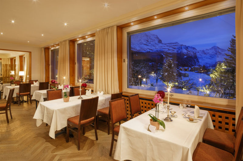 The restaurant offers mountain views